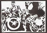 Poster Spiderman Et The Avengers Affiche Handmade Graffiti Street Art - Artwork