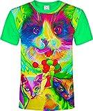 Katzen Ballons Frauchen Vogel Fliegen Berg Luft Haus Augen Fluoreszierender Blacklight Neon T-Shirt