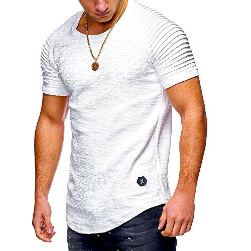 T-Shirt Men High Street Solid Color Men's T-Shirt Men Short Sleeves Stripe Fold Slim Fit Casual - Solid Color
