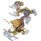 Stoff chinesische Drachen schwarz weiß 27,9cm Bügelbild DIY Gothic Kleidungsstück TShirt Aufnäher Transport Patch