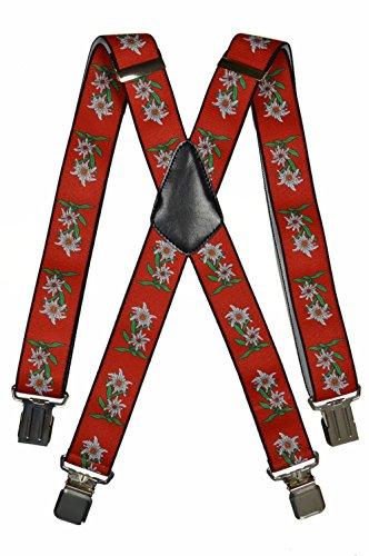 Hosenträger extra starken für Herren mit 4 Clips X-Form - 4cm. Edelweiß-Design, Rot
