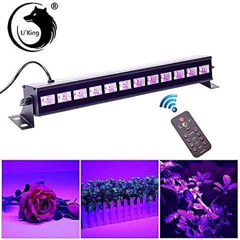 U`King UV Beleuchtung Schwarzlicht 12LEDs x 3Watt UV LED Bar Bühnenbeleuchtung mit Fernbedienung für Party Bar Karneval Halloween und Weihnachten