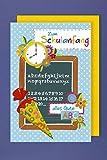 Einschulung Grußkarte Mädchen Junge Tafel Schultüte ABC Zahlen 16x11cm