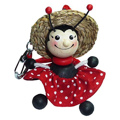 Woudi Marienkäfer Mädchen Ladybug Girl Holzfigur Schlüsselanhänger mit rotem Kleid und Strohhut -