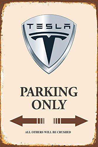 Tesla Parking only park schild tin sign schild aus blech garage