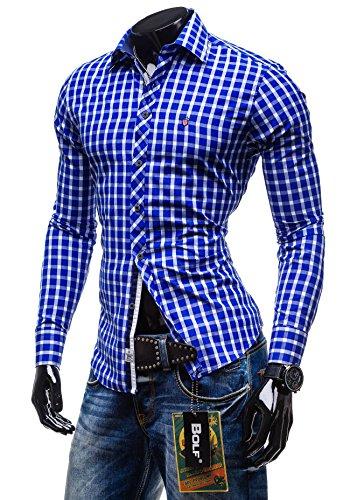 BOLF - Chemise casual à carreaux – Manches longues – élégant BOLF 4747 – Homme Bleu