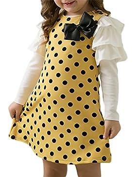 M&A Kinder Mädchen Kleid mit Ärmel, gelb, Gr.104/110, (Herstellergröße: 11)