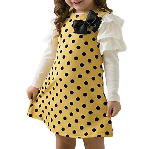 LPATTERN Mädchen Kleider Schöne Kinder Langarm Kleider T Shirt Kleider mit Schleife ,Gelb,110 (Kleid Haus)