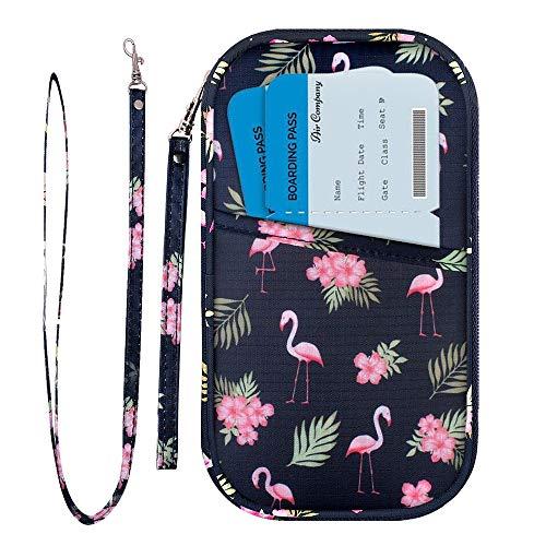 Portafoglio da viaggio porta passaporto familiare porta documenti blocco rfid & organizer per 5 passaporti, carte d'identità, carte di credito, biglietti aerei, denaro (fenicottero)