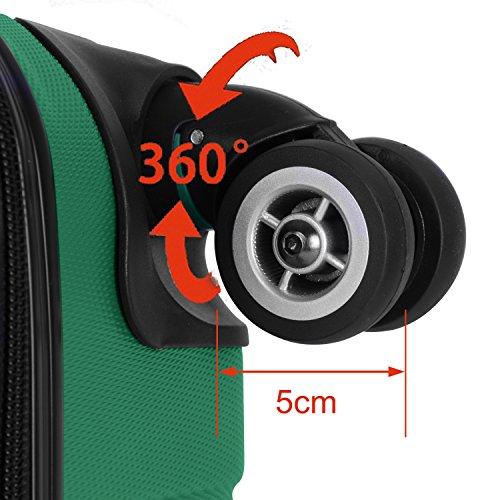 Shaik Serie XANO HKG Design Hartschalen Trolley, Koffer, Reisekoffer, in 3 Größen M/L / XL/Set 50/80/120 Liter, 4 Doppelrollen, TSA Schloss (Handgepäck M, Grün) - 5