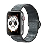 ANBEY Compatible para Correa Apple Watch 38mm 40mm 42mm 44mm, Adecuado para iWatch Apple Watch Serie 4, Serie 3, Serie 2, Serie 1, Reemplazo de Banda de Nylon Sport Loop Grey 42/44mm