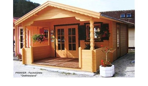 250cm Vordach Gartenlaube Holzhaus Holzlaube Gartenhaus DRESDEN ISO Blockhaus 600x500cm