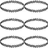 MunkiMix Gummi Kautschuk Halskette Kette Schwarz Doppel Doppelseitig Linie Henna Tattoo Choker Halsband Strecke Elastisch Set (6 PCS) Damen