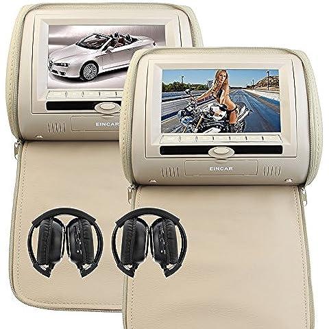 El más nuevo 2PCS Par de apoyo para la cabeza Doble Beige coche de la almohadilla monitores duales región libre reproductor de DVD 7 pulgadas pantallas gemelas del transmisor IR FM 32 bits juegos con cubierta de la cremallera y auriculares infrarrojos X 2