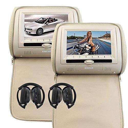 Neueste 2ST Paar Kopfstütze Doppel Beige Auto-Kissen-Monitore Dual-Region Free DVD Player 7 Zoll Twin Screens IR FM Transmitter 32 Bit-Spiele mit Reißverschluss-Abdeckung & Infrarot-Kopfhörer X 2 - Twin-screen-dvd-player