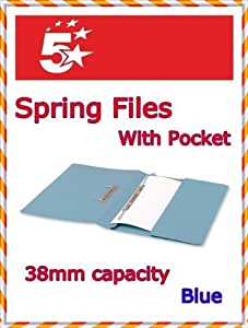 5 Star Office Transfer Spring File with Pocket 315gsm 38mm Foolscap Blue (Pack of 25)