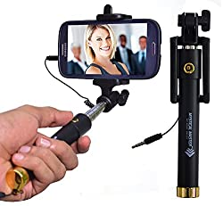 ACCMART Selfie Stick with Wire/Aux Cable (No Bluetooth or Battery) for taking Photos & Videos on all Mobile Phones, Buy Original Premium & Best Quality, Light Weight, Best Price Gift, Long Length Extendable & Foldable Branded Monopod, Golden Selfie Stick for iPhones (iOS 5.0+) 4s, 5s, 6s, 6s Plus, Android Phones, Samsung Galaxy, Note, Edge, Gionee, Intex, Karbonn, Lenovo, Nokia, Nexus, Oppo, Vivo, Coolpad, One Plus, Moto, Sony