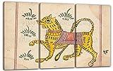ca. 1800 - Seite aus einem Buch von Omens (India), 120 x 80 cm (Dreiteiler, 3 x 40x80cm) (weitere Größen verfügbar), Leinwand auf Keilrahmen gespannt und fertig zum Aufhängen, hochwertiger Kunstdruck aus deutscher Produktion