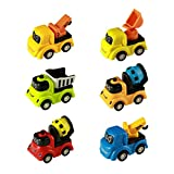 Mini Toy Cars Pull Back and Go Smile Cartoon Vehicles Trucks Sets for Kids 6 Pieces