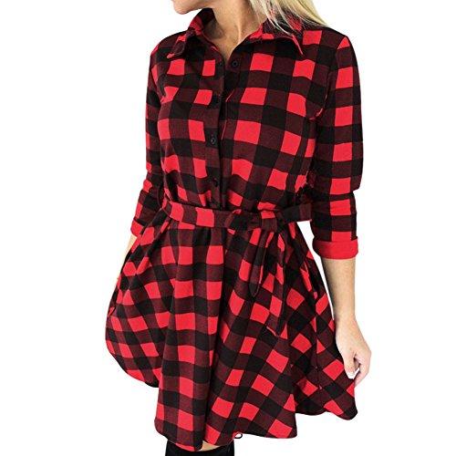 West See Frauen Dünne Kleider 3/4 Hülse Bluse Kariert Plaid V-Ausschnitt Shirts Mini Kleid mit Gürtel (DE 38, Rot) (Kleid Rot Weiß Karierte)