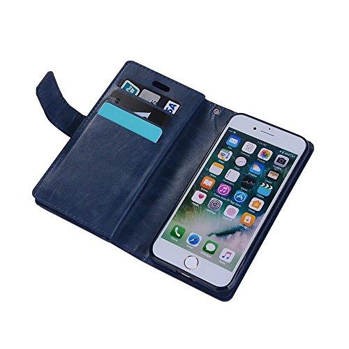 iPhone 6s Flip Wallet Coque, Housse Portefeuille Zip, PU Cuir Etui Case Cover Protection Complète pour iPhone 6 (Marron) Bleu