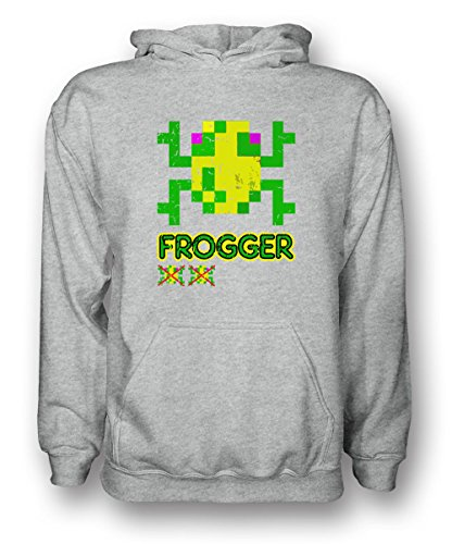 Frogger Adults Hoodie, Black or Grey - S to 5XL