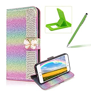 Diamond Wallet Leather Case for iPhone 7 Plus,Flip Cover for iPhone 8 Plus,Herzzer Premium Luxury Butterfly Buckle Magnetic Closure Rainbow Glitter Stand Case with Inner Soft Rubber Protective Case - Rainbow #2