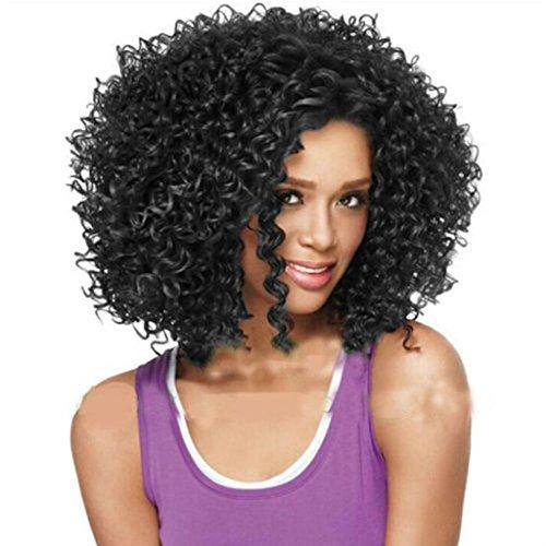 DZw flauschige kurze Locken, hitzebeständige Perücken, lockige Haarperücken Haar schwarze Frauen , (Film Kleinen Die Frauen Kostüme)