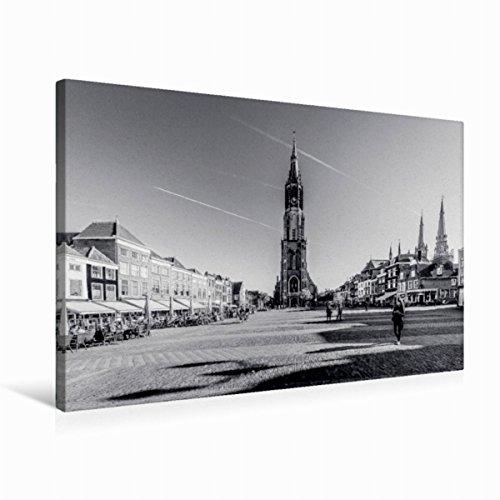 Premium Textil-Leinwand 75 cm x 50 cm quer Blick auf die Nieuwe Kerk | Wandbild, Bild auf Keilrahmen, Fertigbild auf echter Leinwand, Leinwanddruck