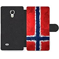 Norwegian Flag Norway Norske Flagg Funda Cuero Sintético para Samsung Galaxy S4 mini
