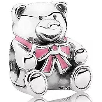 New Silver Teddy Bear Pink Baby Girl Charm Fit European Brand bracelet UK seller