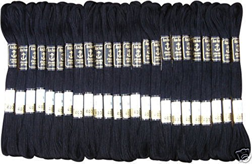 25Schwarz Anker Nähprogramme Garnknäuel Baumwolle Stickgarn Floss von London–der GCS besten Preis (100% Baumwolle-thread)