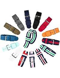 ACE NATO Correa de Reloj Premium Nylon 240x20 mm Correa de Reloj con Hebilla de Acero Inoxidable, Varios Colores