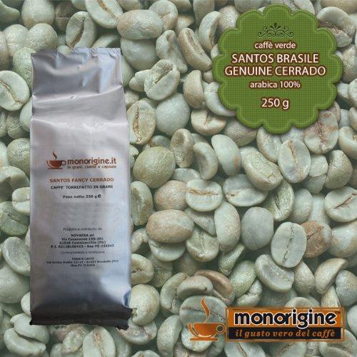 Caffè Verde in Grani Santos Brasile Genuine Cerrado 250 gr - Caffè Monorigine Arabica 100%