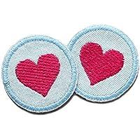 Set 2 Jeansflicken Herz Patch gestickt Flicken zum aufbügeln