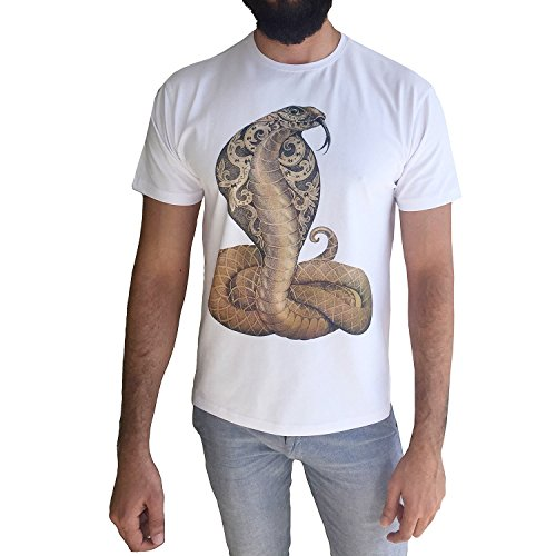 JustCool Herren T-Shirt Weiß & Schwarz Rundhals   Kurzarm   Motiv Snake