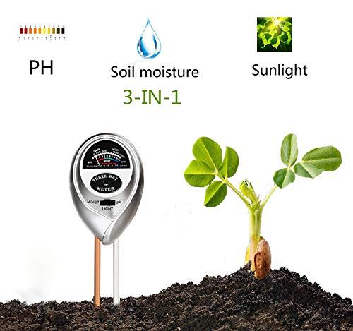 Superskey 3-in-1-Boden-Prüfvorrichtung-Meter-Test-Ausrüstung für Licht, Feuchtigkeit und pH Passend für Innenanlage-Blumen, Gemüsegarten im Freien, Rasen, Bauernhof, Gartenbau-Anlage-Testgerät (Anlage Im Freien Tabelle)