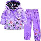 Timlung Enfant Bébé Fille Manteau Imperméable à Capuchea + pantalon de pluie Violet 8-9ans