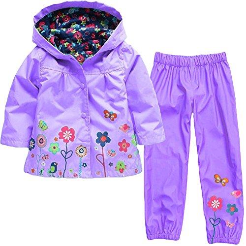 Timlung Kinder Mädchen 2tlg Bekleidungsset Regenjacke mit Kapuze + Regenhose, Violett, Gr.104/110(Herstellgröße: 110CM)