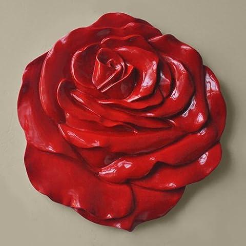 Lx.AZ.Kx Continental idilliaco fiore Stereo parete decorazione parete decorazione Decorazioni soggiorno Tv decorazioni a parete appendiabiti,grande Red Rose1*