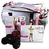Pink Ladies Edition 5er Set Sporttasche + Gymnastikball+ Multifunktions-Expander + Hantel rosa ~ds5...