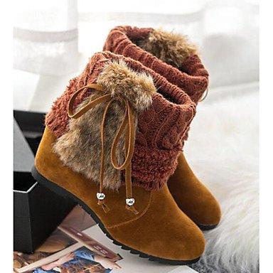 GLL&xuezi Damen Stiefel Komfort Springerstiefel Echtes Leder PU Winter Normal Schwarz Braun Flach , brown , us7.5 / eu38 / uk5.5 / cn38