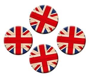 Union Jack – Flaggen Magnete 4er-Set Ø 5 cm – Kühlschrankmagnete mit Länderfahnenmotiv