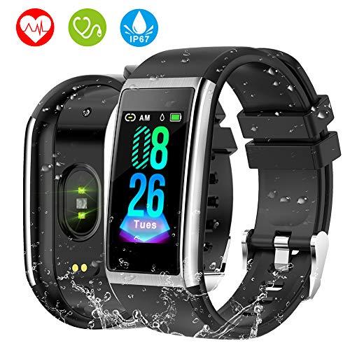 HOLALEI Fitness Armband, 1,14'' Bildschirm Smartwatch mit Pulsmesser Blutdruckmessung IP67 Fitness Tracker Aktivitätstracker Schrittzähler Uhr für Damen Herren Anruf SMS Beachten für iPhone Android (Android Fitness-tracker Uhr)