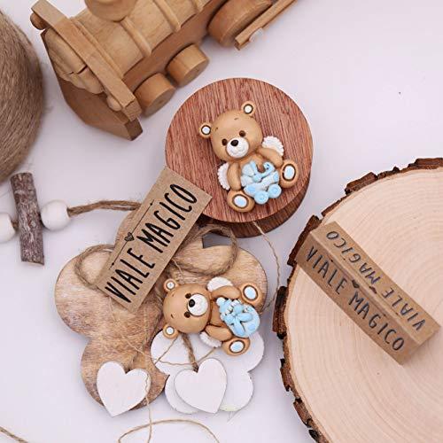 Orsetto con ali bimbo bomboniera nascita magnete magicorsetti kit 24 pezzi (1007m)