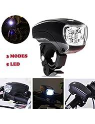 VENMO Luz de Bicicleta, Luz De Bicicleta Conjuntos De Faros Delanteros Y Traseros, 3 Modos De Iluminación, Ciclismo Super Brillante 5 Cabeza Delantera del LED