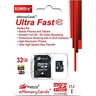 eMemoryCards 32GB Ultra Fast 80MB/s MicroSD Memory Card for AEE S80 MagiCam Action Camera | Full size SD Adapter included