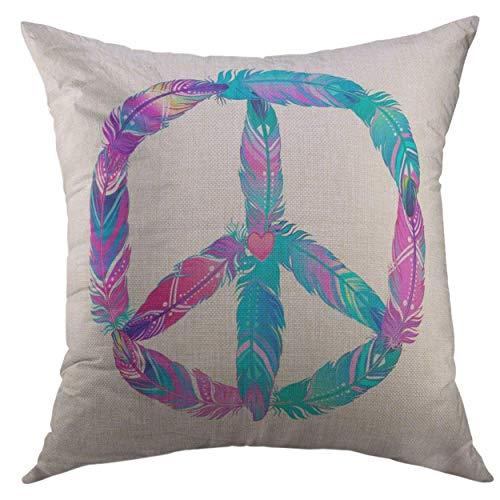 ace-Zeichen aus bunten Vogelfedern Hippie-Symbol 60er Jahre Boho Tribal Indianer Motive quadratisch Überwurf Kissenbezug für Männer Frauen Kinder Kissenbezug 45,7 x 45,7 cm ()
