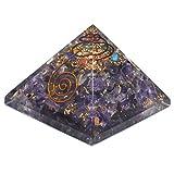 Pirámide de Orgonita con cristales de Amatista. Generador de energía orgón, equilibra la energía ambiental y protege contra campos electromagneticos - 72mm x 72mm