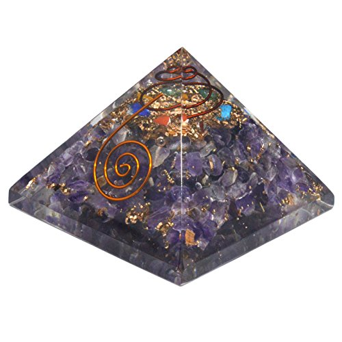 Piramide di orgonita e cristalli di ametista, trasforma l'energia negativa in energia positiva - 72mm x 72mm